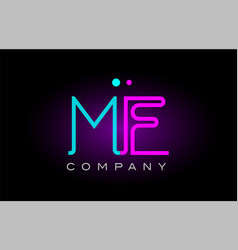 neon lights alphabet me m e letter logo icon vector image