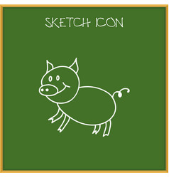 Of animal symbol on pig doodle vector