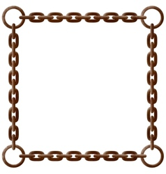 Old rusty chain frame with metal rings vector