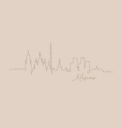 pen line silhouette moscow beige vector image