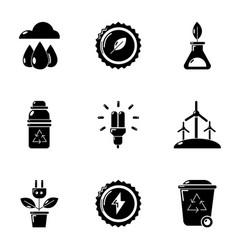 Petrol station icons set cartoon style vector