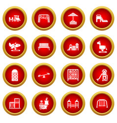 playground equipment icons set simple style vector image