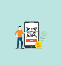 Qrcode online payment technology scan with vector