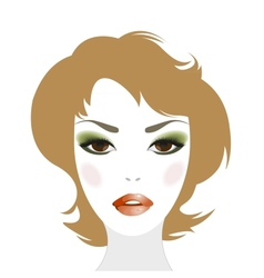 Redheaded woman with makeup and hairstyle vector