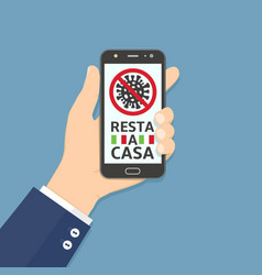 resta a casa stay home on italian language text vector image