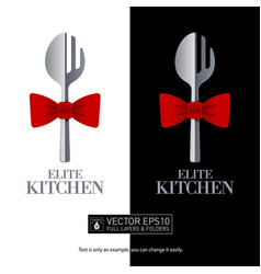 Restaurant logo fork and spoon shaped isolated vector