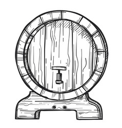 Round wooden barrel freehand pencil drawing vector