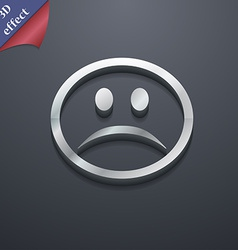 Sad face Sadness depression icon symbol 3D style vector image