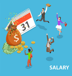 Salary day flat isometric concept vector