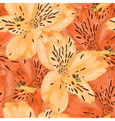 seamless background with yellow alstroemeria vector image