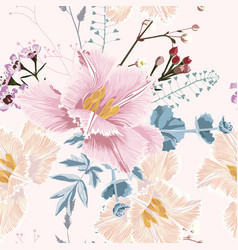 seamless pattern with blooming herbs and tulips vector image