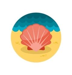 Seashell flat icon vector