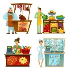 Seller counter service 4 cartoon compositions set vector