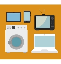 set electronic devices isolated icon design vector image