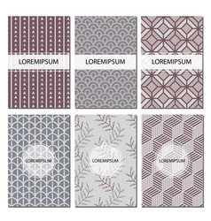 set of geometric patterns abstract design vector image