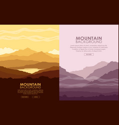 Set of mountain landscapes vector
