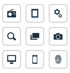 Set of simple hardware icons vector