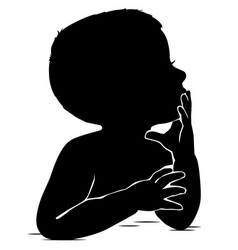 Silhouette of baby thinks leaning his hand to his vector