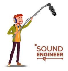 Sound engineer man audio recording process vector
