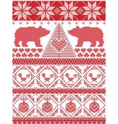 Tall xmas pattern with xmas tree polar bears vector image