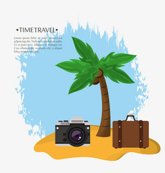 Time travel beach suitcase photo camera vector