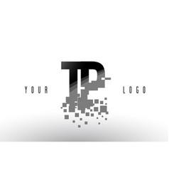 Tp t p pixel letter logo with digital shattered vector