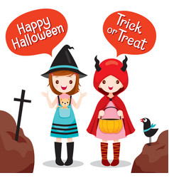 Two girls wearing halloween costume vector
