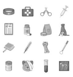 Veterinary clinic icons set monochrome style vector image