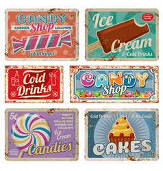 Vintage candy shop metal signs with rusty texture vector