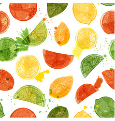 Watercolor citrus fruit seamless pattern vector