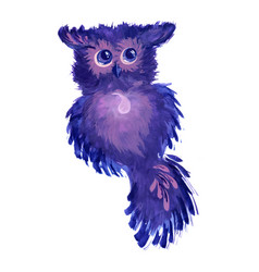 Watercolor fantasy owl vector