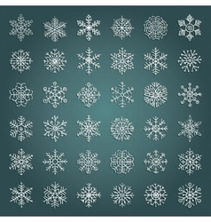 White Hand Drawn Winter Snow Flakes Doodles vector