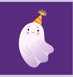 White little ghost in party hat cute halloween vector