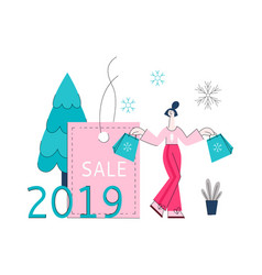 winter holidays sale banner vector image
