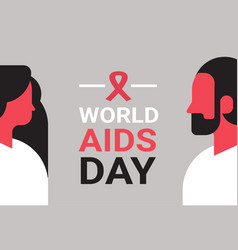 World aids day awareness red ribbon sign couple vector