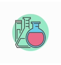 Flasks with test tube colorful icon vector image vector image