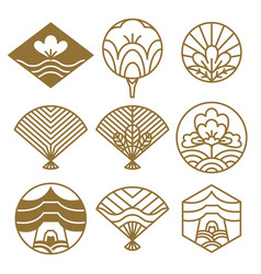 japanese icons flowers set vector image