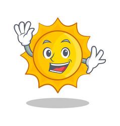 waving cute sun character cartoon vector image