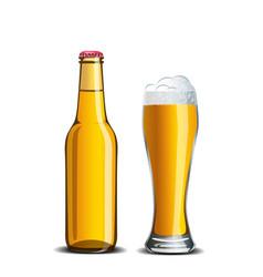 beer mock up high glass goblet and bottle vector image