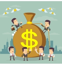Businessman trying to make money vector image