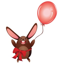 Chocolate Bunny with Balloon vector image vector image