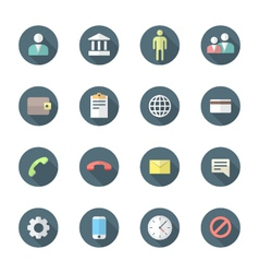 color flat style various social network icons set vector image
