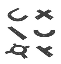 set of isolated parts of the road junction vector image vector image