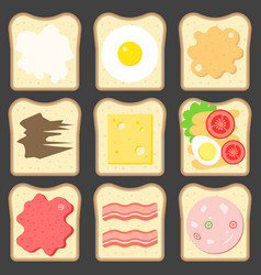 Sliced bread with bread spreads vector