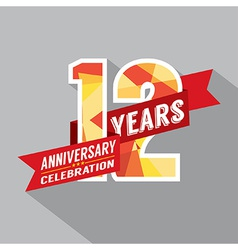 12th Years Anniversary Celebration Design vector image vector image