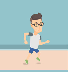 caucasian sporty man jogging on the beach vector image vector image