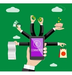 Management of business and payment vector image