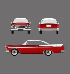 red retro car on gray background vector image