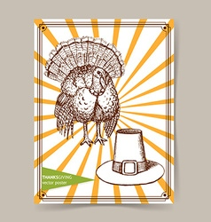 Sketch Thanksgiving turkey and hat vector image vector image