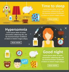 sleep good night banner horizontal set flat style vector image vector image
